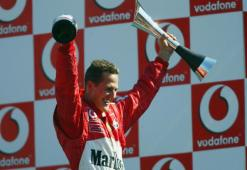 Schumacher of Germany and Ferrari celebrates