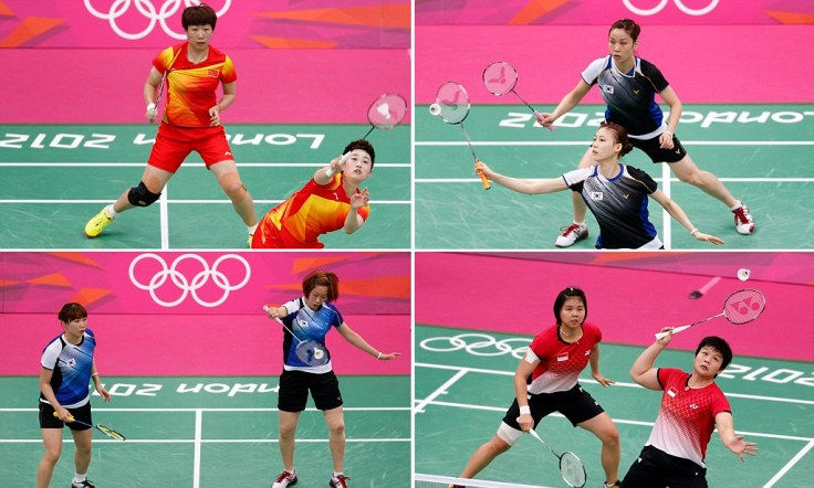 Combo photo of the women's doubles pair of China's Wang and Yang, South Korea's Jung and Kim, Indonesia's Polii and Jauhari and South Korea's Ha and Kim during their matches during the London 2012 Olympics